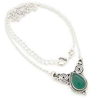Onyx Necklace 925 Silver Sterling Silver Chain Necklace Green (MCO 09-14)
