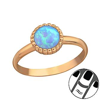 Round Synthetic Opal - 925 Sterling Silver Midi Rings - W23603x