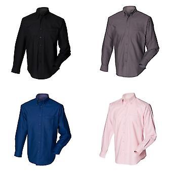 Henbury Mens klassieke Oxford werk Shirt met lange mouwen