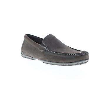 Geox Uomo Moner Mens Gray Suede Low Top Slip On Casual Loafers Shoes