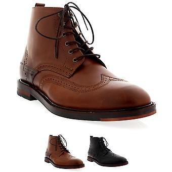 Mens H By Hudson Harland Smart Leather Laced Work Office Ankle Boot Shoe