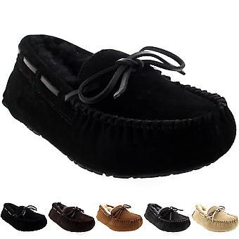 Womens Moccasins Real Suede Australian Sheepskin Fur Loafers Slippers UK 3-10