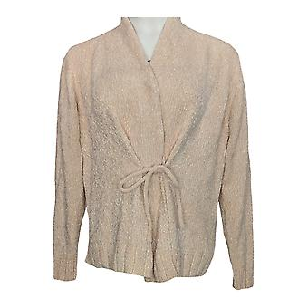Anybody Women's Sweater Chenille Tie-Front Cardigan Pink A379989