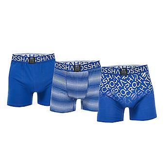 Men's Crosshatch Black Label Formbee 3 Pack Boxer Shorts in Blue