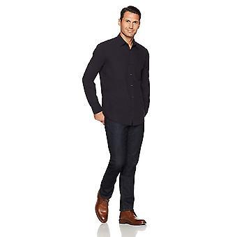Essentials Men's Regular-Fit Long-Sleeve Solid Casual Poplin Shirt, Wa...