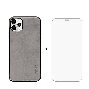 Voor iPhone 11 Pro Case Fabric Texture Grey & Tempered Glass Screen Protector