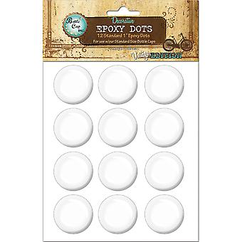"Vintage Epoxy Dot Clear Stickers 1"" 12/Pkg-Round"