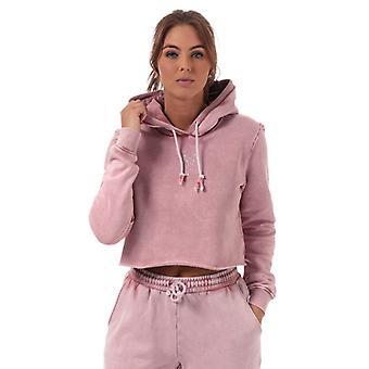 Women's Pink Soda Sport Wash Crop Hoody in Pink