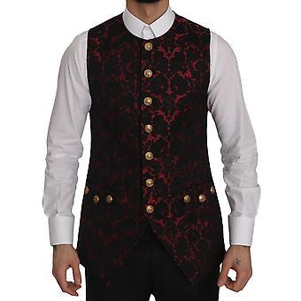 Dolce & Gabbana Red Black Brocade Slim Formal Vest -- JKT2861424