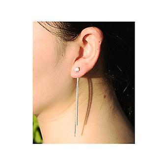 Crystal Long αλυσίδα Drop Σκουλαρίκια-ασημί
