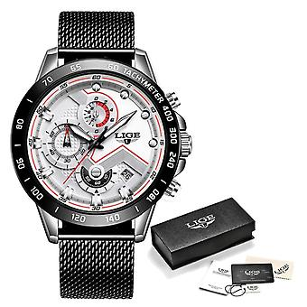 Lige Quartz Watch - Anologue Luxury Movement for Men - Stainless Steel - Black-White