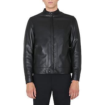Z Zegna Vv074zz911k09 Men's Black Leather Outerwear Jacket