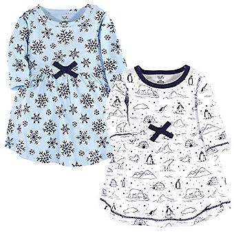 Touched by Nature Girls' Organic Cotton Short-Sleeve Dresses, Arctic, 3-6 Mon...