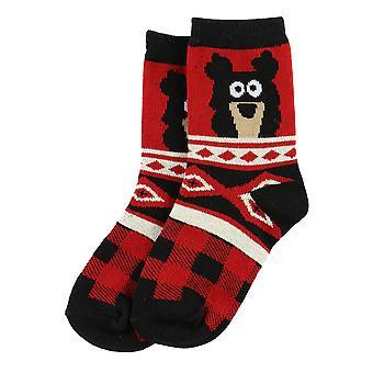 Lazy One Cabin Bear KSK786 Red Unisex Socks