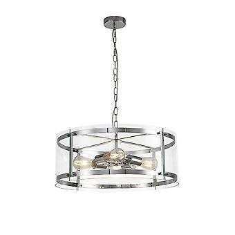Luminosa Lighting - Cylindryczny wisiorek sufitowy, 4 Light E27, polerowany chrom