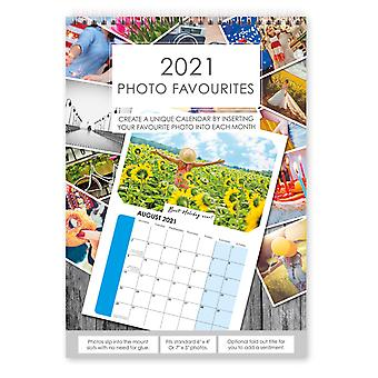 2021 Insert Your Own Photos A4 Spiral Bound Wall Hanging Calendar Photo Favourites