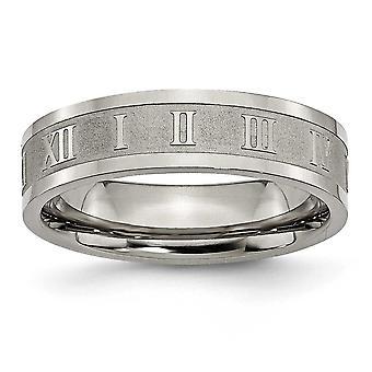 Titanium Engravable polerad och satin romerska siffror 6mm Satin och polerad Band Ring - Ring storlek: 6 – 13