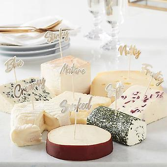 Gold Cheese Board Party Food Picks X 8