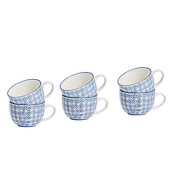 Nicola Spring 6 Piece Hand-Printed Cappuccino Cup Set - Japanese Style Porcelain Coffee Teacups - Navy - 250ml