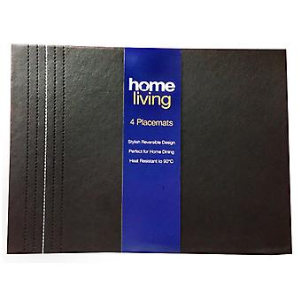 Home Living Faux Leather Placemat Black & White Stitch x 4