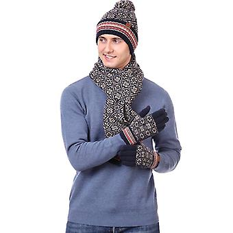 3 Pcs Winter Hat Scarf And Gloves Set For Men And Women