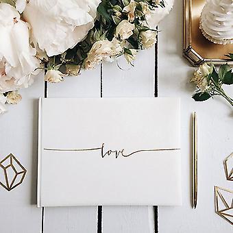Off White bog - kærlighed i guld bogstaver 24 x 18,5 cm bryllup gæstebog / hukommelse