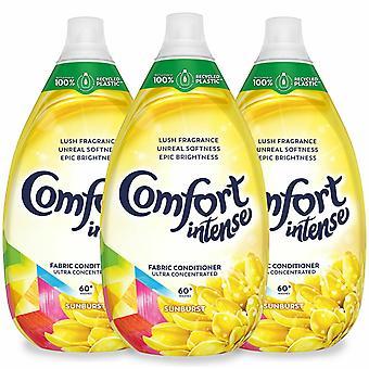 Comfort Intense Sunburst Fabric Conditioner, Pack of 3, 60 Washes, 900ml