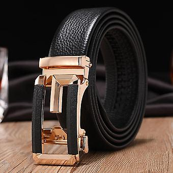 Men Belts, Male Genuine Leather Strap, Automatic Buckle