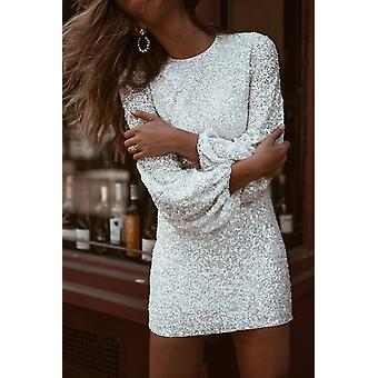Nafouklý rukáv flitry strana krátké šaty