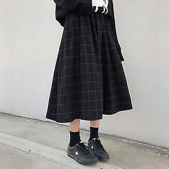 Styl wysoka elastyczna talia długie spódnice kobieta jesień zima plaid a-line kobiety