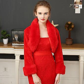 Women Ivory Winter Warm Faux Fur Wedding Bridal Shrug Elegant Long Sleeve