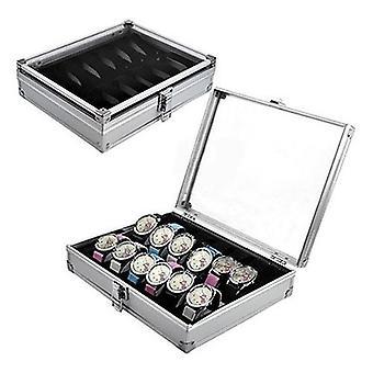High Quality Metal  6/12 Grid Slots Wrist Watch Display Case, Storage Holder