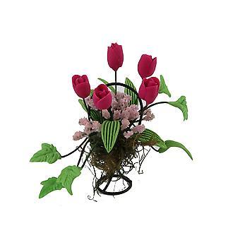 Bonecas Casa Flor Rosa Profunda Exposição em Black Wire Basket Garden Acessório