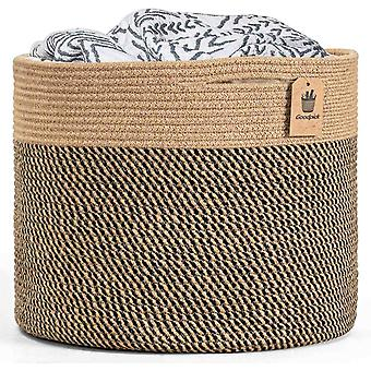 Goodpick Large Jute Basket Woven Storage Basket for Laundry Organization Blanket Basket