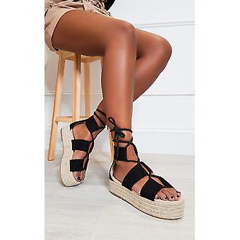 IKRUSH Womens Annie Flatform Rope Sandals