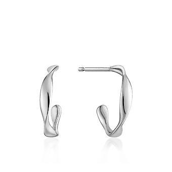 Ania Haie Sterling Silver Rhodium Plated Twist Mini Hoop Earrings E015-01H