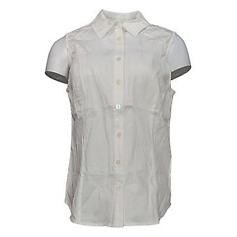 Joan Rivers Women's Top Sleeveless Button Front Collared White A303952