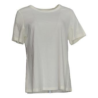 LOGO Par Lori Goldstein Women's Top Knit W/ Short Sleeves White A342991