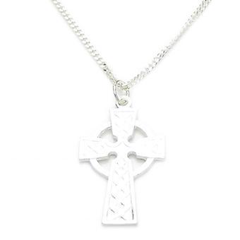 Kelttiläinen tyyli cross .925 sterling hopea 18 tuuman ketju kaulakoru