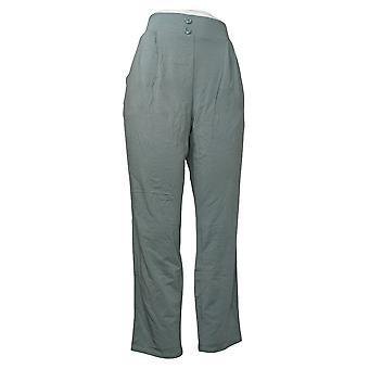 Alle kvinner's bukser koselig strikk plissert knapp foran blå A374505