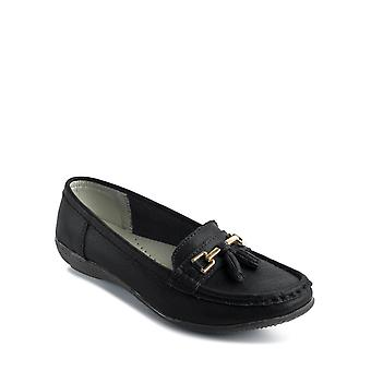 Chums Ladies Leather Loafer Nautical Wide Fit