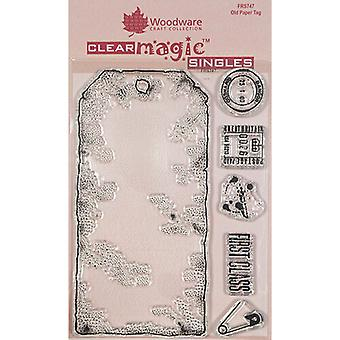 Holzgeschirr klar Singles altes Papier Tag 4 in x 6 in Stempel