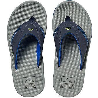 Reef Boys Fanning Casual Beach Pool Sandals Thongs Flip Flops - Navy/Lime