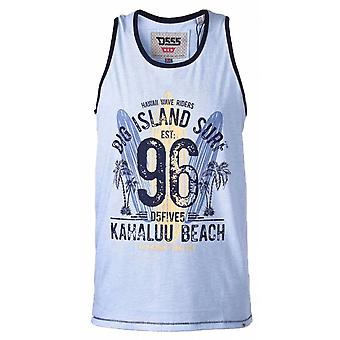 DUKE Duke Mens Big Size - WIRRAL - D555 Hawaii Surf Board Printed Vest With Contrast Colour Binding Sky Blue