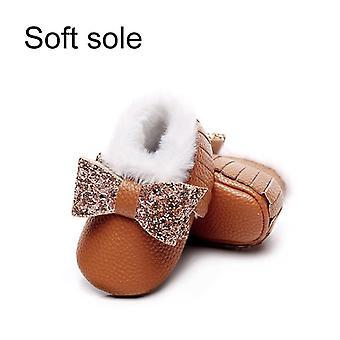 الفتيات لامعة القوس الشتاء أفخم شرابة الأحذية الدافئة