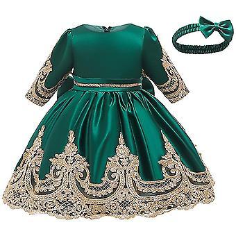 Baby Girls Satin Bowknot Tutu Party šaty s pokrývkou hlavy Zelená
