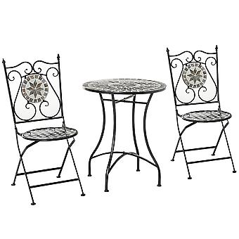 Outsunny 3 Pcs Mosaic Tile Garden Bistro Set Outdoor Seating w/ Table 2 Folding Chairs Set Metal Frame Elegant Scrolling Indoor Patio Balcony