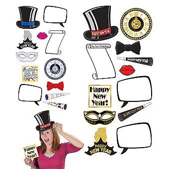 Corte de signos divertidos de fotos de Año Nuevo (paquete de 12)