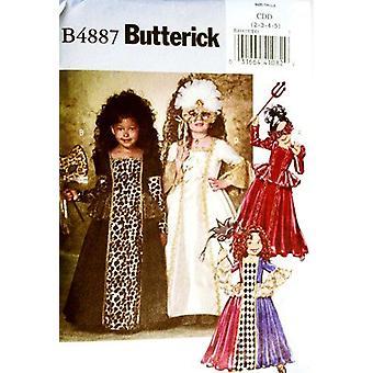 Butterick puku kuvio 4887 Pikkutytöt Szs 2,3,4,5 Historialliset & Naamiaispuvut