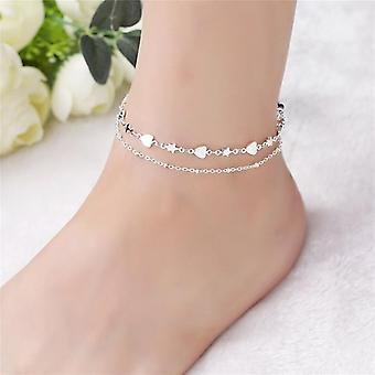 Moda 925 Sterling Silver Anklet Fine Jewelry Heart Foot Chain